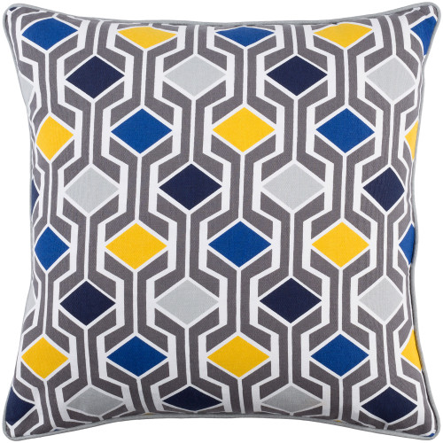 """18"""" Gray and Blue Diamond Patterned Square Woven Throw Pillow - Down Filler - IMAGE 1"""