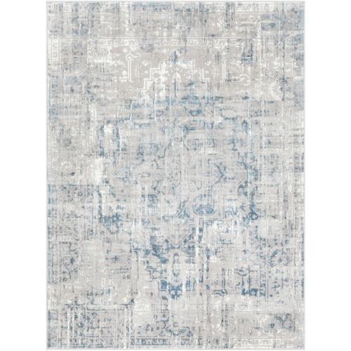 "5'3"" x 7'3"" Distressed Finish Medieval Pattern Beige and Denim Rectangular Area Rug - IMAGE 1"