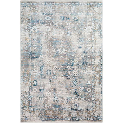 5' x 7.5' Distressed Blue and Yellow Rectangular Area Throw Rug - IMAGE 1