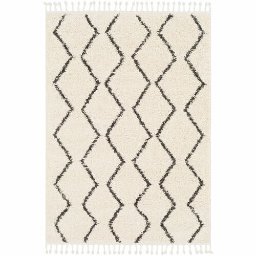 10' x 13.9' Moroccan Style Beige and Black Rectangular Area Throw Rug - IMAGE 1