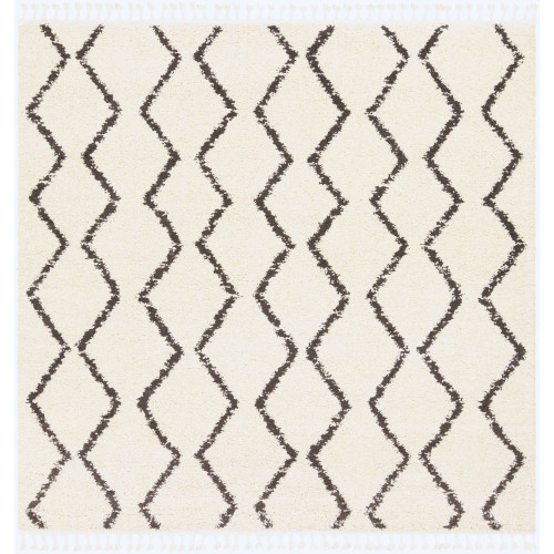 7.8' Bohemian Style Black and Beige Square Area Throw Rug - IMAGE 1