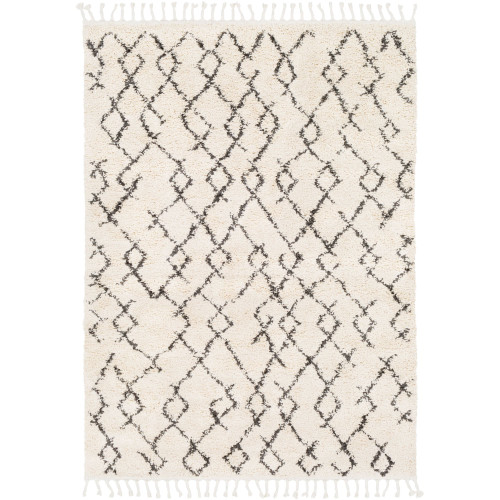 10' x 13.9' Geometric Patterned Black and Beige Rectangular Area Throw Rug - IMAGE 1