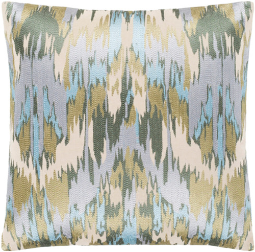 """22"""" Pale Blue and Gray Embroidered Abstract Patterned Square Throw Pillow - Down Filler - IMAGE 1"""
