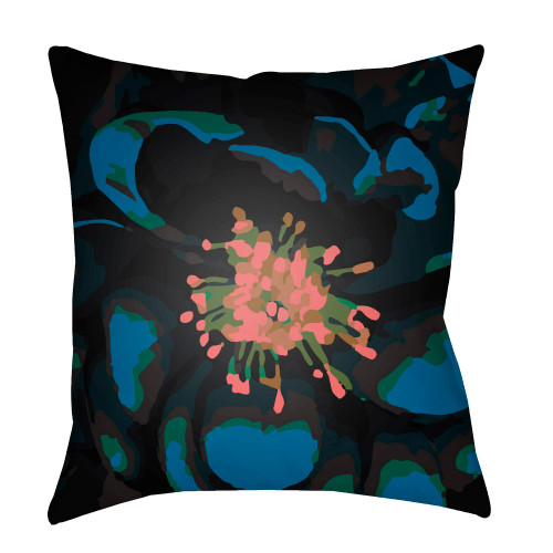 """22"""" Lapis Blue and Rose Pink Hibiscus Printed Square Throw Pillow Cover - IMAGE 1"""