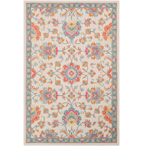 3' Beige and Orange Persian Floral Pattern Hand Tufted Wool Area Rug - IMAGE 1