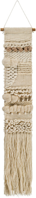 """56"""" Cream White and Wheat Brown Hand Woven Fringed Wall Hanging - IMAGE 1"""
