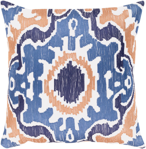 """22"""" Blue and Orange Square Throw Pillow - Poly Filled - IMAGE 1"""