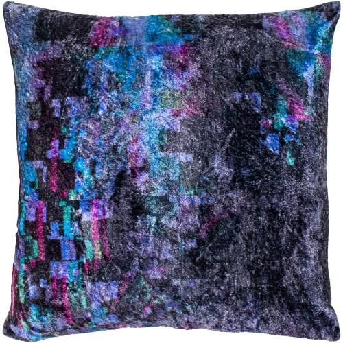 "22"" Black and Purple Geometric Crushed Velvet Throw Pillow - Down Filler - IMAGE 1"