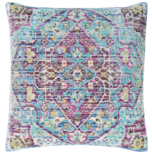 """27"""" Pale Blue and Purple Traditional Square Throw Pillow Cover - IMAGE 1"""