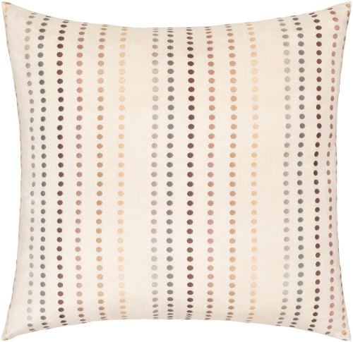 "22"" Beige and Brown Square Throw Pillow - Down Filler - IMAGE 1"