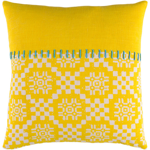 "22"" Yellow and White Embroidery Square Throw Pillow - Poly Filled - IMAGE 1"