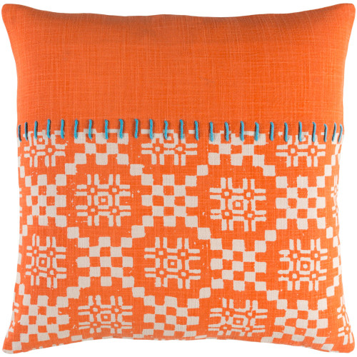 "22"" Orange and White Embroidery Square Throw Pillow - Poly Filled - IMAGE 1"