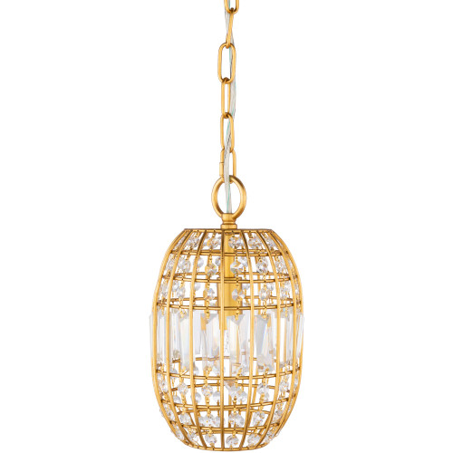 """11.5"""" Gold Colored Crystal Hanging Pendant Ceiling Light Fixture - IMAGE 1"""