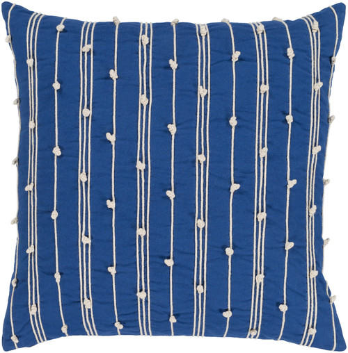 """20"""" Beige and Blue Embroidered Square Throw Pillow - Down Filler - IMAGE 1"""