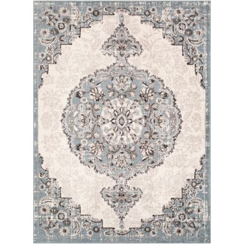 7.8' x 10.25' Cloud Gray and Brown Oriental Patterned Rectangular Area Throw Rug - IMAGE 1