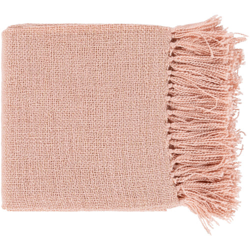 """Pink and Gold Colored Rectangular Throw with Fringe 50"""" x 60"""" - IMAGE 1"""