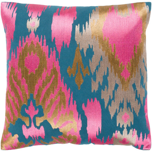 "18"" Dark pink and Blue Embroidered Square Throw Pillow Cover - IMAGE 1"