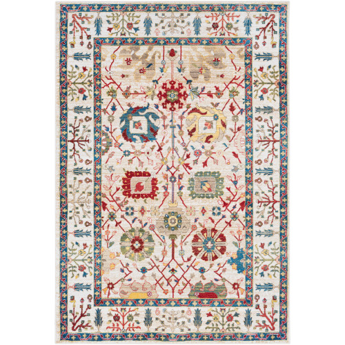 9' x 12.3' Floral Patterned Red and White Rectangular Area Throw Rug - IMAGE 1