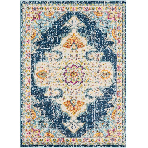 """5'3"""" x 7'3"""" Blue and Beige Distressed Persian Design Rectangular Machine Woven Area Rug - IMAGE 1"""