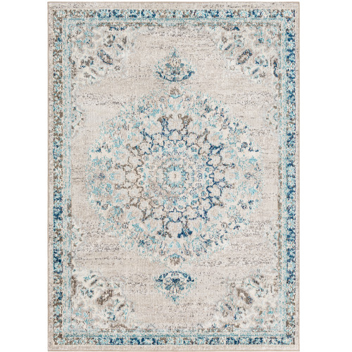 """5'3"""" x 7'3"""" Gray and Blue Distressed Persian Medallion Design Rectangular Machine Woven Area Rug - IMAGE 1"""