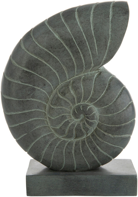 """8.5"""" Gray Solid Snail Shell Tabletop Decor with Base - IMAGE 1"""