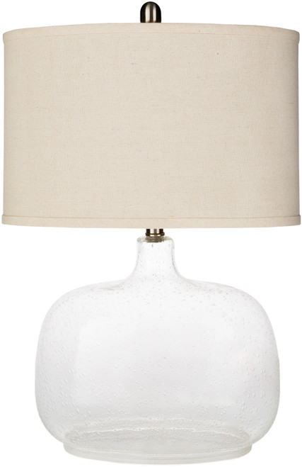 """24.5"""" Contemporary Style Finial Glass Table Lamp with Beige Modified Drum Shade - IMAGE 1"""