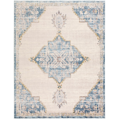 7.8' x 10.25' Beige and Blue Distressed Finish Rectangular Area Throw Rug - IMAGE 1