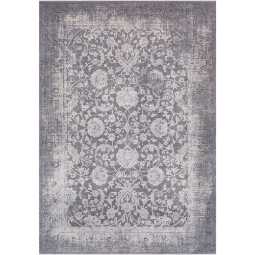 6.5' x 9.5' Floral Gray and Ivory Rectangular Area Throw Rug - IMAGE 1