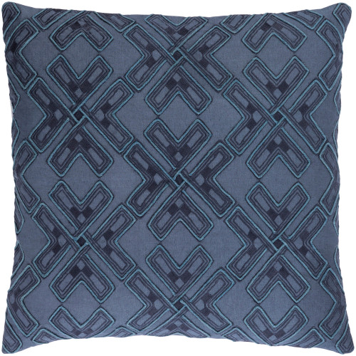 """18"""" Navy Blue Embroidered Square Throw Pillow Cover - IMAGE 1"""