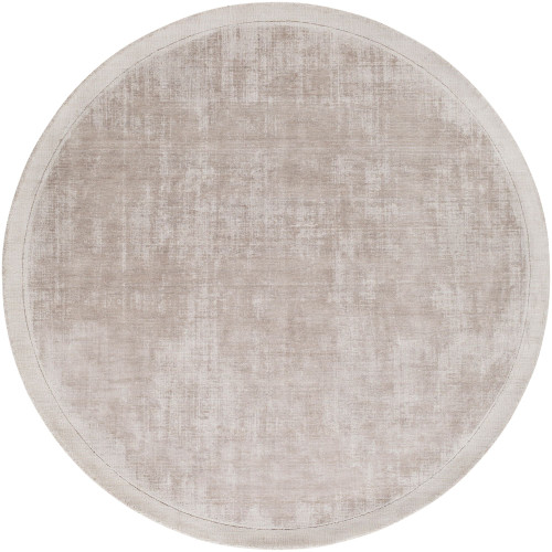 5.75' Solid Taupe Brown Hand Loomed Round Area Throw Rug - IMAGE 1