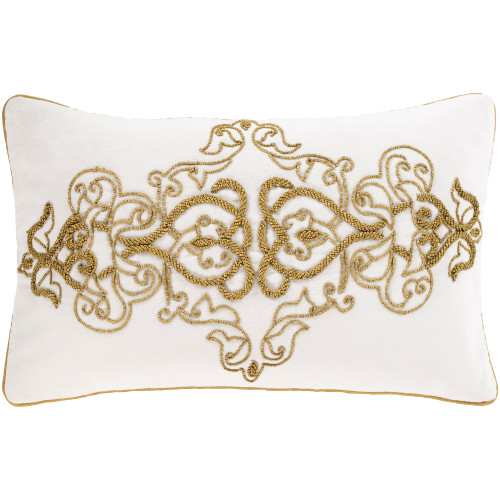"""20"""" Gold Colored and White Traditional Rectangular Throw Pillow Cover - IMAGE 1"""