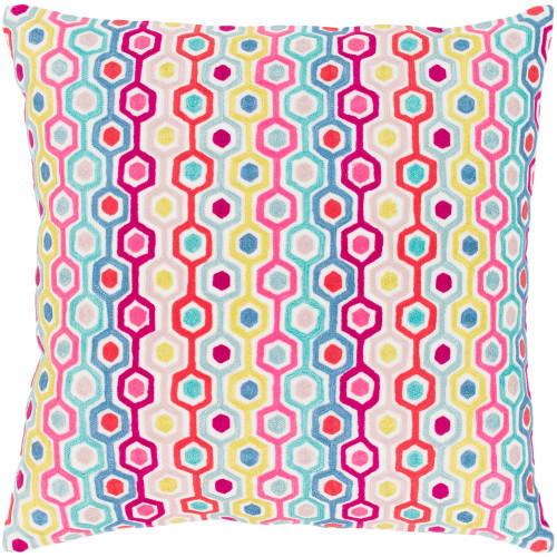 "22"" Vibrantly Colored Hexagon Pattern Square Throw Pillow Cover - IMAGE 1"