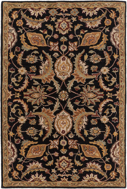 4' x 6' Black and Camel Beige Oriental Patterned Rectangular Area Throw Rug - IMAGE 1