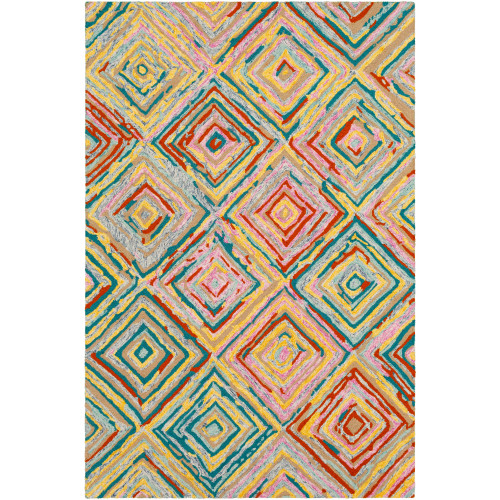 5' x 7.5' Butter Yellow and Red Geometric Patterned Rectangular Area Throw Rug - IMAGE 1