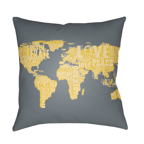 "22"" Shadow Gray and Yellow World Map Digitally Printed Square Throw Pillow Cover - IMAGE 1"
