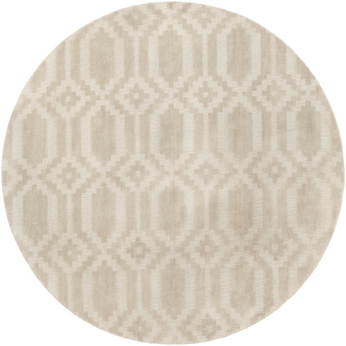 7.75' Geometrical Patterned Beige Hand Loomed Round Area Throw Rug - IMAGE 1