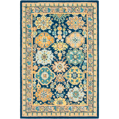 5' x 7.5' Denim Blue and Yellow Damask Patterned Rectangular Area Throw Rug - IMAGE 1