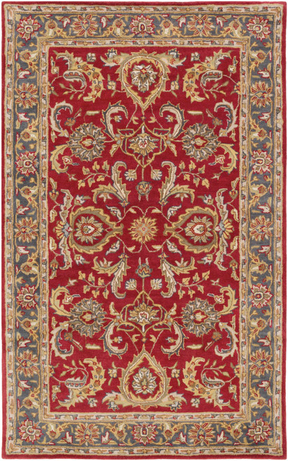4' x 6' Red and Olive Green Floral Rectangular Area Throw Rug - IMAGE 1