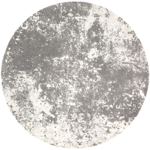 7.8' Gray and Ivory Distressed Finish Round Area Throw Rug - IMAGE 1