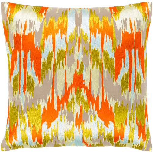 """18"""" Gold Colored and Orange Woven Throw Pillow with Knife Edge - Down Filler - IMAGE 1"""