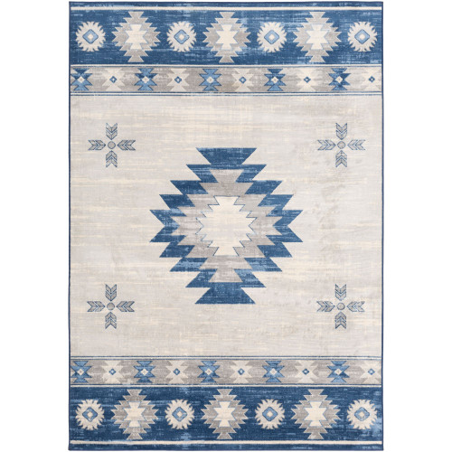 4.25' x 5.9' Traditional Bright Blue Rectangular Area Throw Rug - IMAGE 1