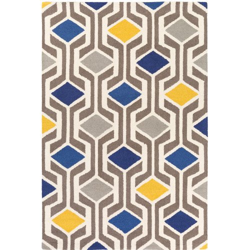 "5' x 7'6"" Geometric Pattern Gray and Blue Hand Tufted Wool Area Throw Rug - IMAGE 1"