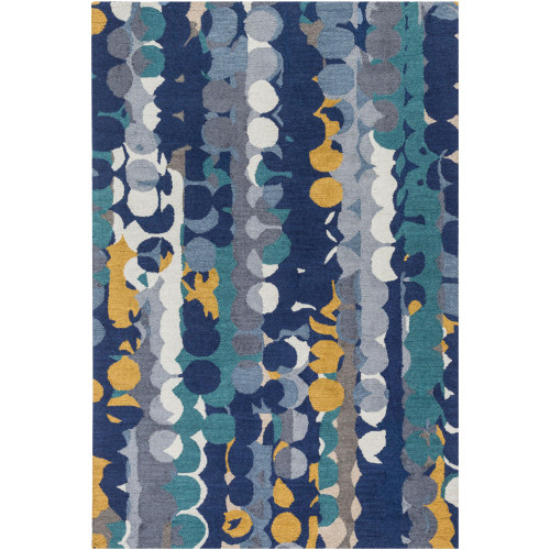 8' x 10' Contemporary Blue and Yellow Rectangular Area Throw Rug - IMAGE 1