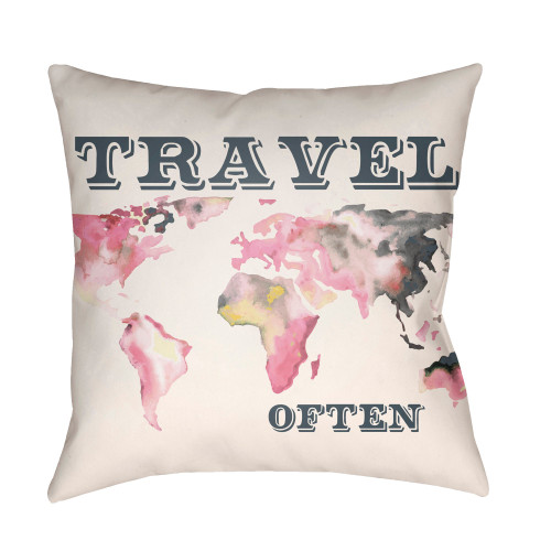 """22"""" White and Pink World Map """"TRAVEL OFTEN"""" Printed Throw Pillow Cover with Knife Edge - IMAGE 1"""