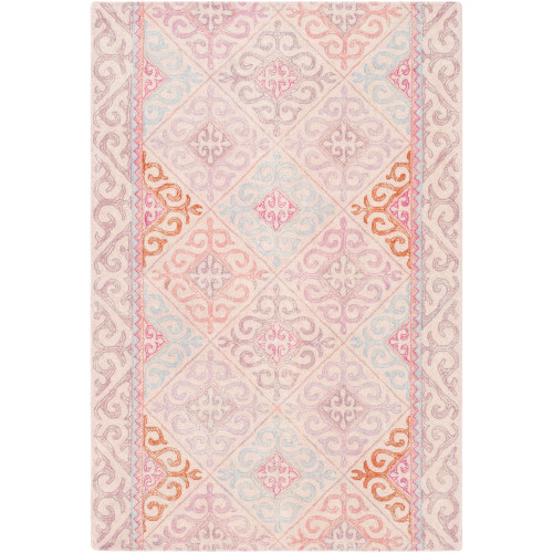 8' x 10' Contemporary Style Pink and Burnt Orange Rectangular Area Throw Rug - IMAGE 1