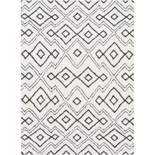 6.5' x 9.5' Geometrical Patterned Black and White Rectangular Area Throw Rug - IMAGE 1