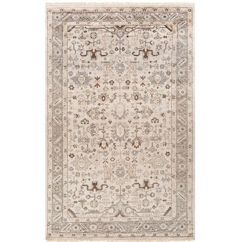 2' x 3' Oriental Design Light Gray and Brown Rectangular Hand Knotted Area Rug - IMAGE 1