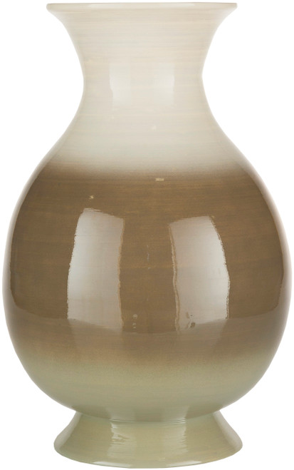 "16.5"" Brown and White Glossy Finish Bamboo Vase - IMAGE 1"