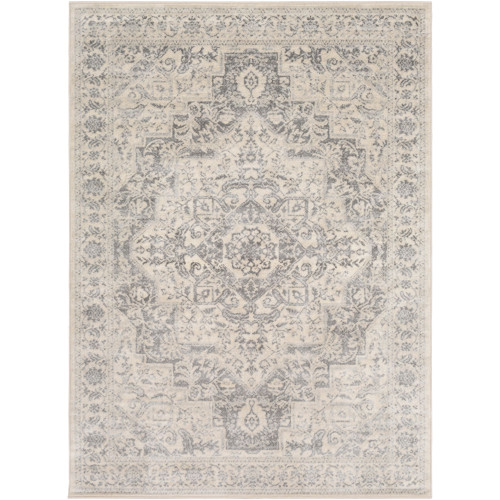 4.25' x 5.9' Distressed Beige and Gray Rectangular Area Throw Rug - IMAGE 1