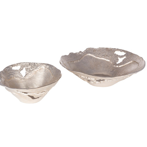 "18.25"" Vintage Design Silver Finished Aluminum Decorative Table Top Bowls - IMAGE 1"